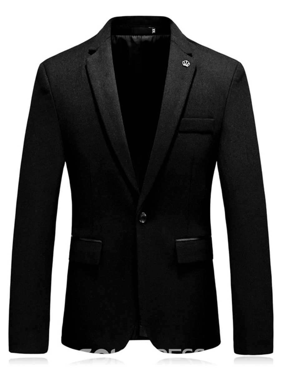 Ericdress Plain Slim Fit One Button Mens Casual Business Jacket Blazer