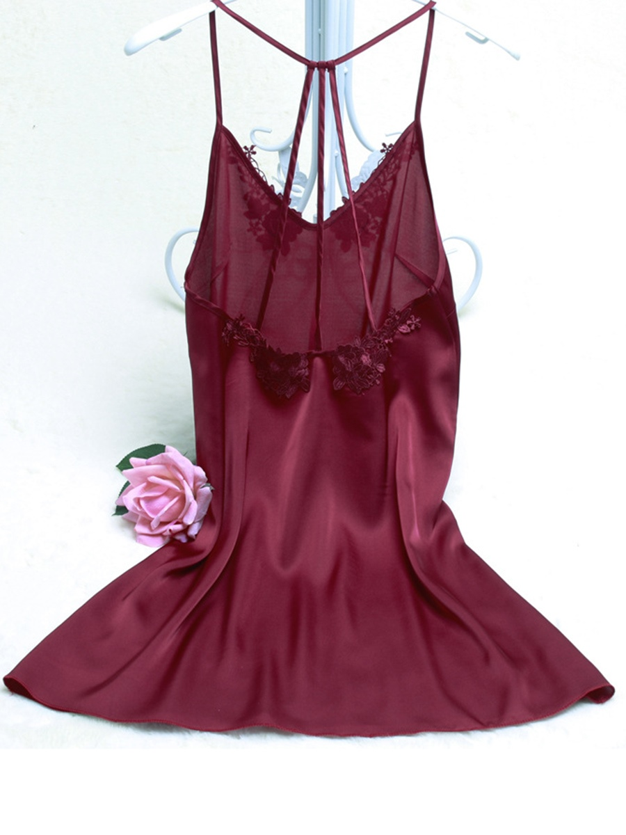 Ericdress Embroidery Floral Spaghetti Straps Summer Night Dress