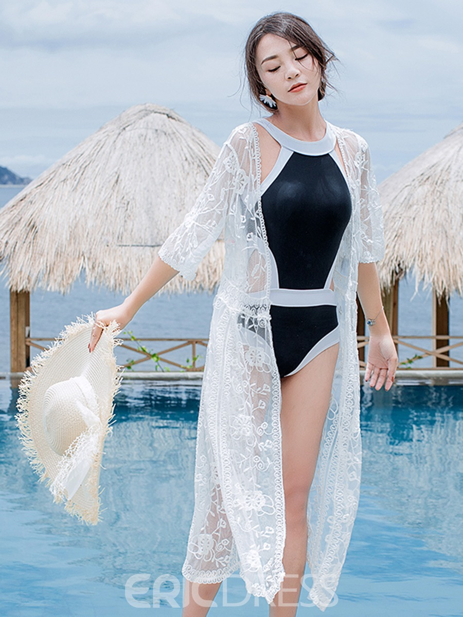 Ericdress White Plain Lace See-Through Long Beach Cover Ups
