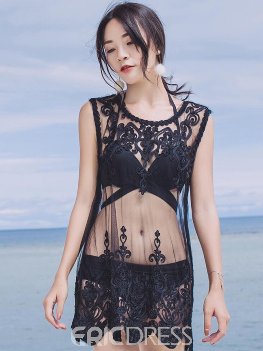 Ericdress Plain Black Mesh See-Through Lace Beach Cover Up