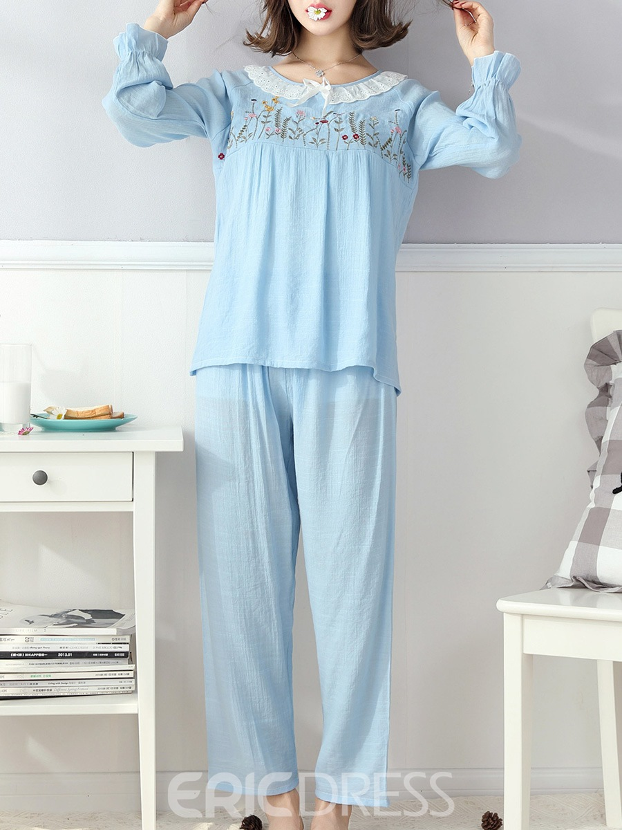 Ericdress Print Nine Points Sleeve Full Length Pajama Set