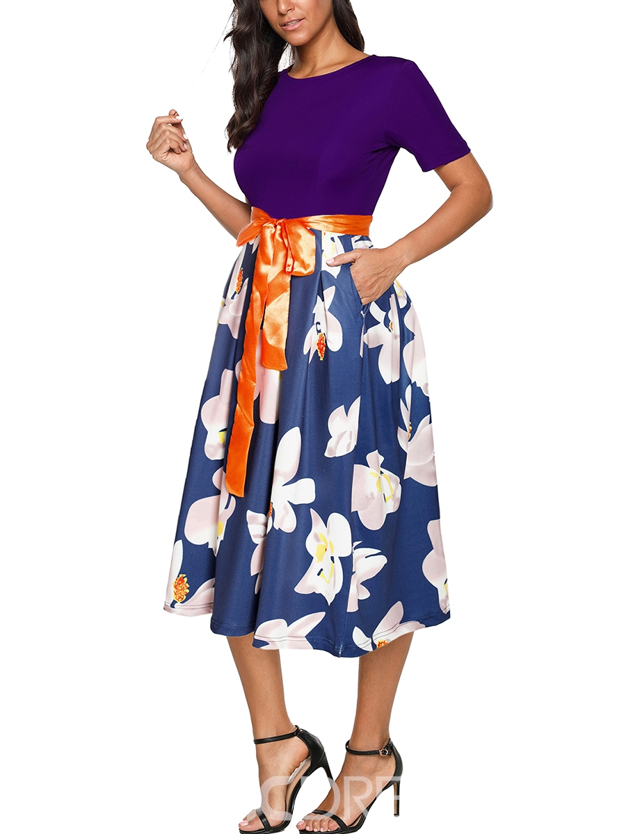 Ericdress Floral Patchwork Trumpet Casual Dress