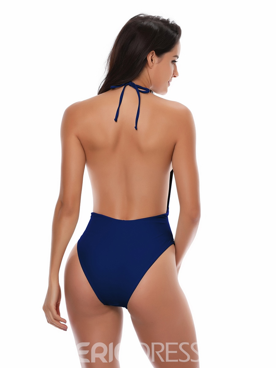 ad8c9784a64 Ericdress Halter Plain Bowknot One Piece Bathing Suits 13216504 ...
