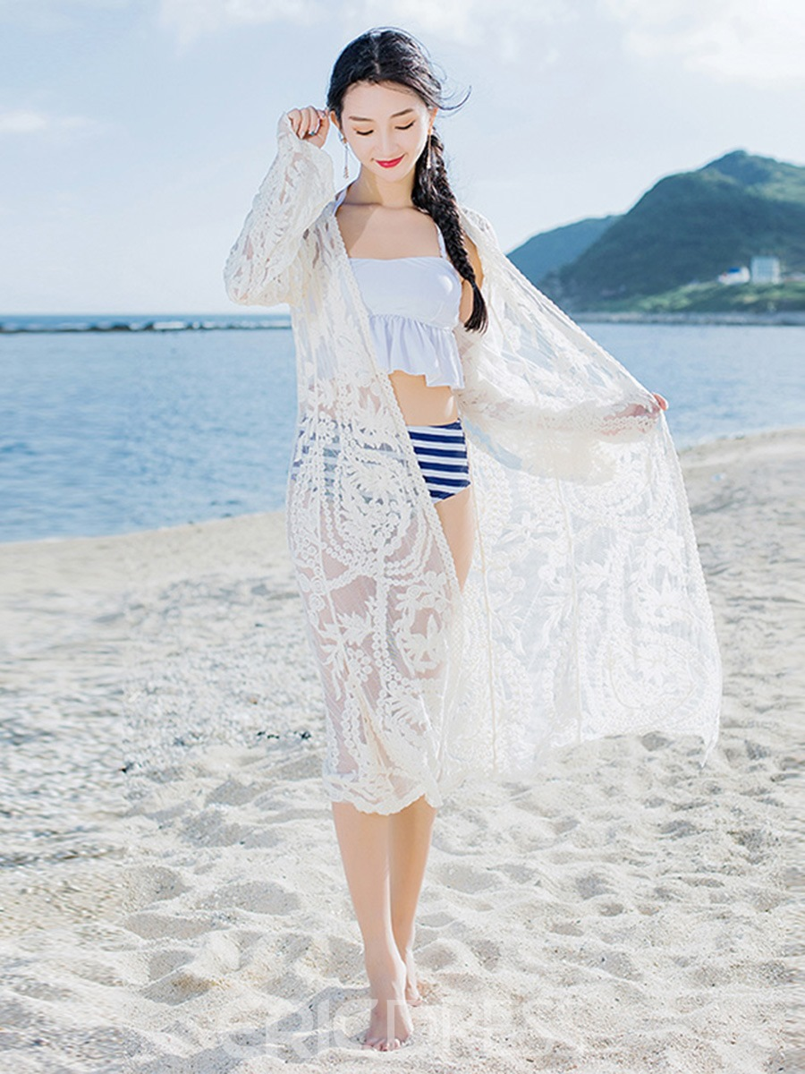 Ericdress See-Through Plain White Beach Cover Ups