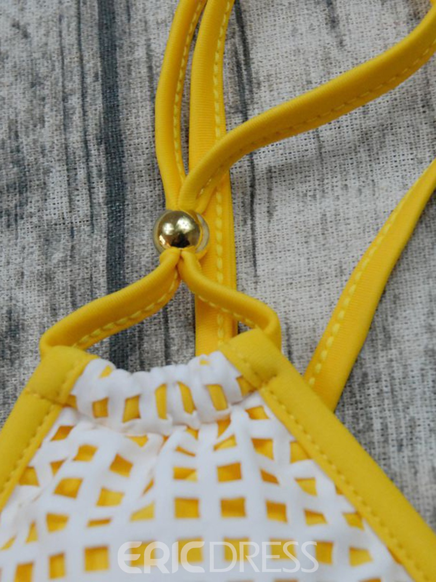 Ericdress Plaid Mesh Lace-Up Yellow Bikini Suits