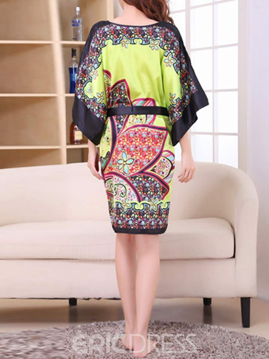 Ericdress Batwing Print Sleeve Lace-Up Loose Night Dress