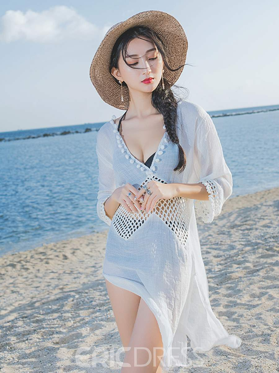 Ericdress White Plain Hollow Beach Dress