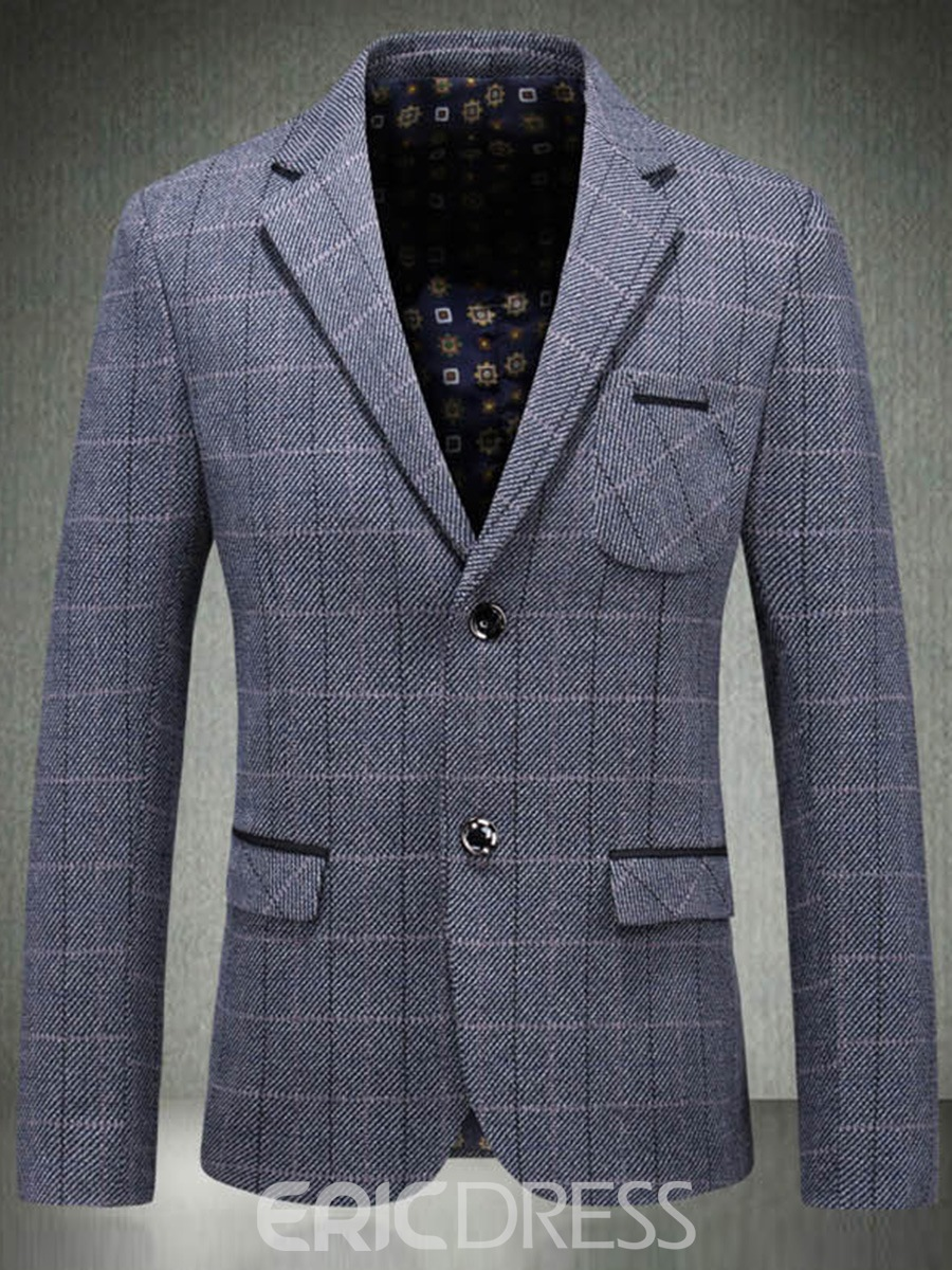Ericdress Plaid Slim Fit Patchwork Mens Two Button Blazer Jacket