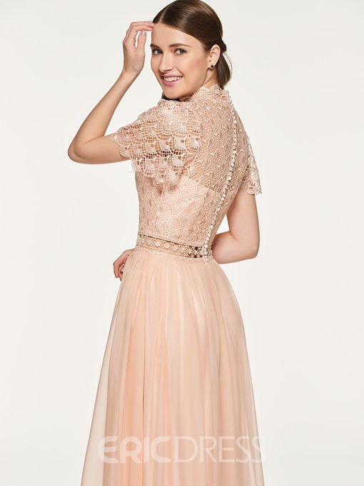 Ericdress Short Sleeves Button Lace Bridesmaid Dress