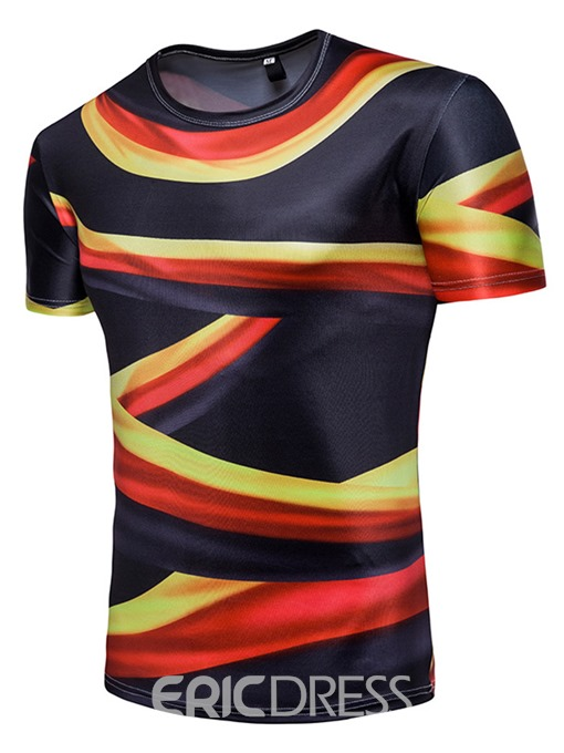 Ericdress Stripe Color Block World Cup Designed Mens T Shirt