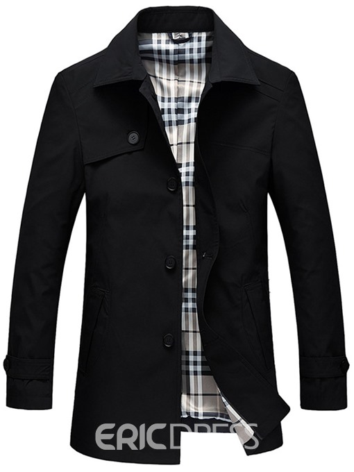 Ericdress Lapel Plain Slim Mens Jacket