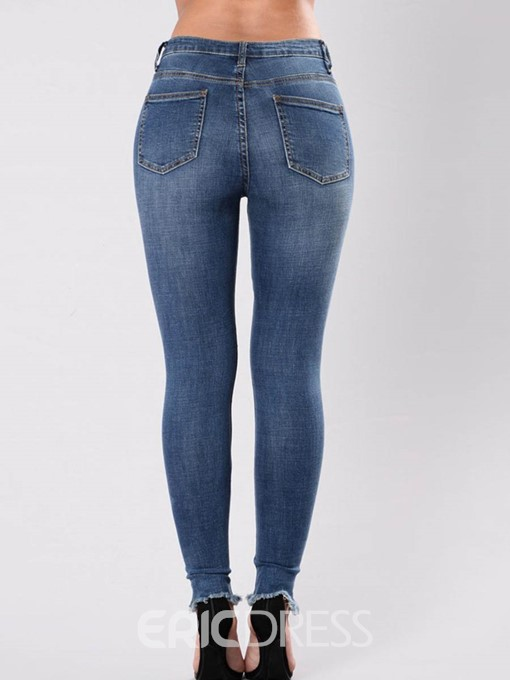 Ericdress Skinny Mid-Waist Floral Embroidery Women's Jeans