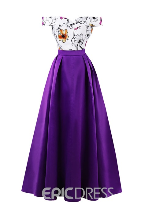 Ericdress Off-the-Shoulder Printing A Line Prom Dress