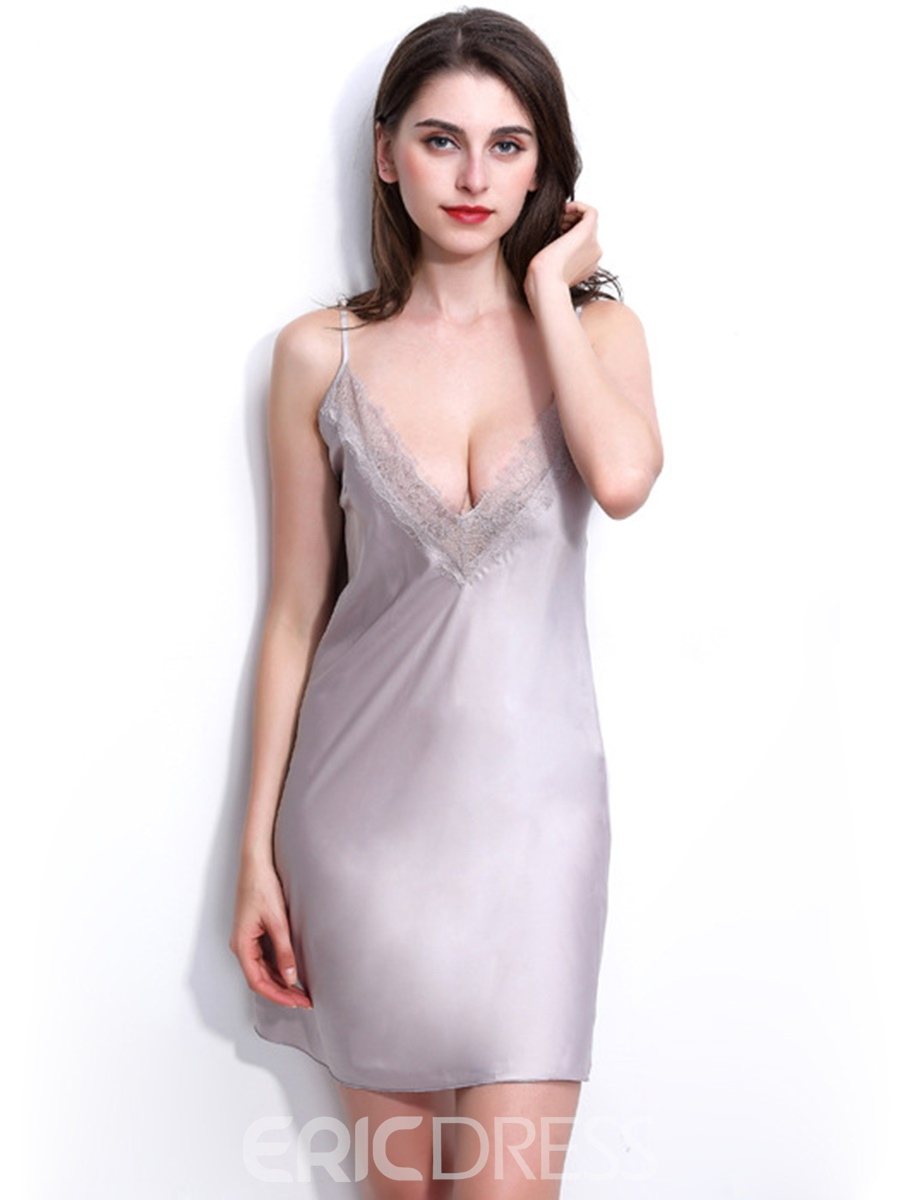 Ericdress Deep V-Neck Backless Lace-Up Sexy Night Dress Lingerie