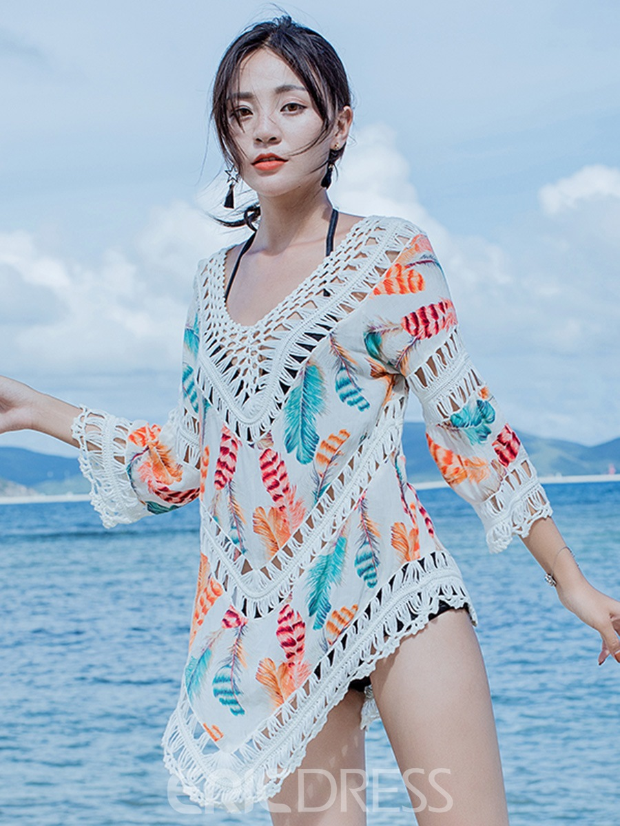 Ericdress Pullover Mid-Length Asymmetric Hollow Beach Cover Up