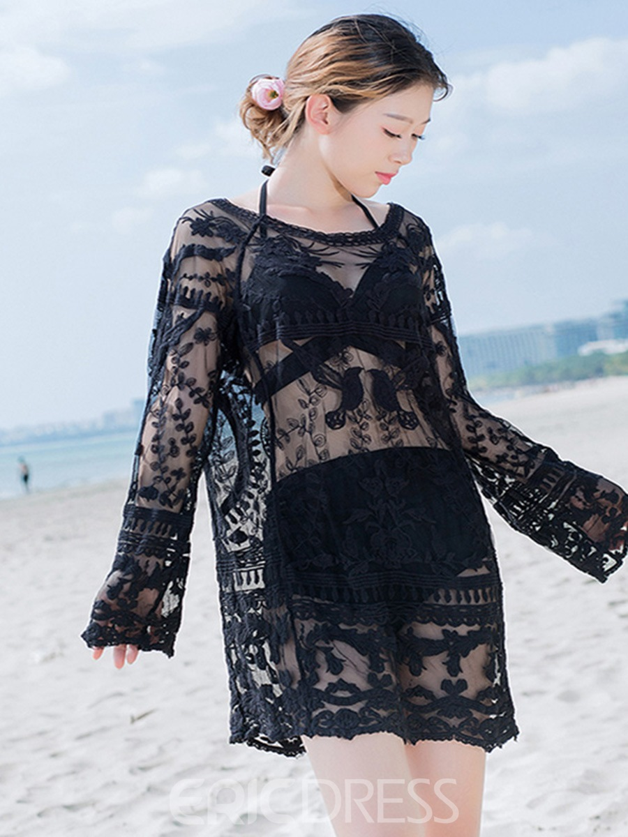 Ericdress Pullover See-Through Embroidery Lace Black Beach Cover Ups