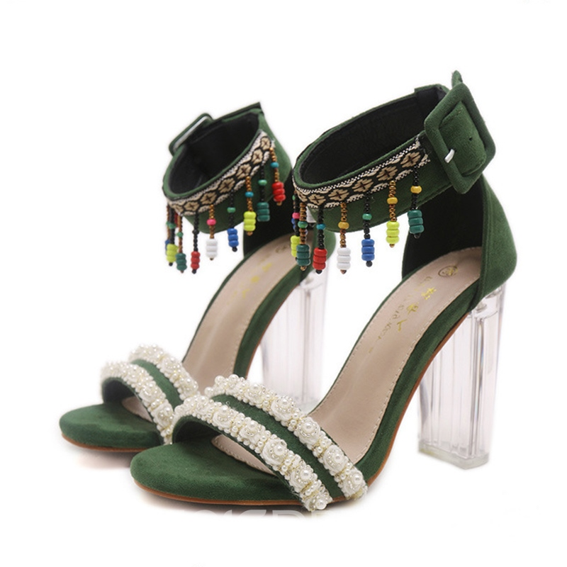 Ericdress Fringe Open Toe Clear Chunky Sandals