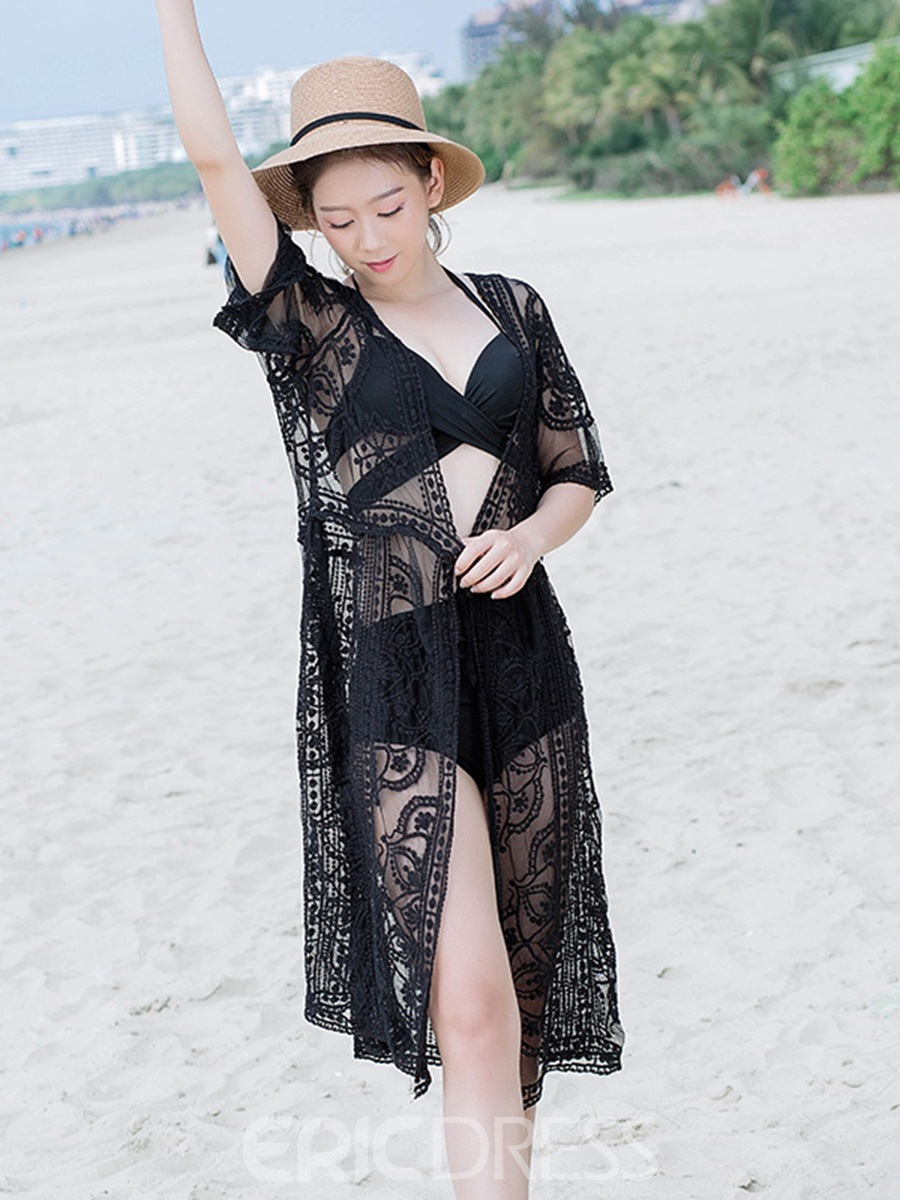 Ericdress Black Plain Hollow See-Through Half Sleeves Lace Beach Cover Ups