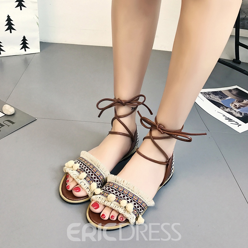 Ericdress Fringe Open Toe Lace-Up Flat Sandals