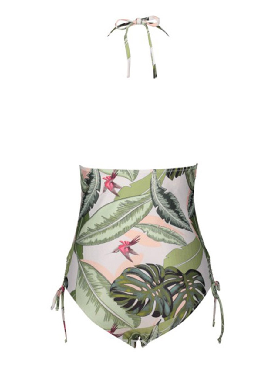 Ericdress Green Plant Halter Lace Up One Piece Bathing Suits