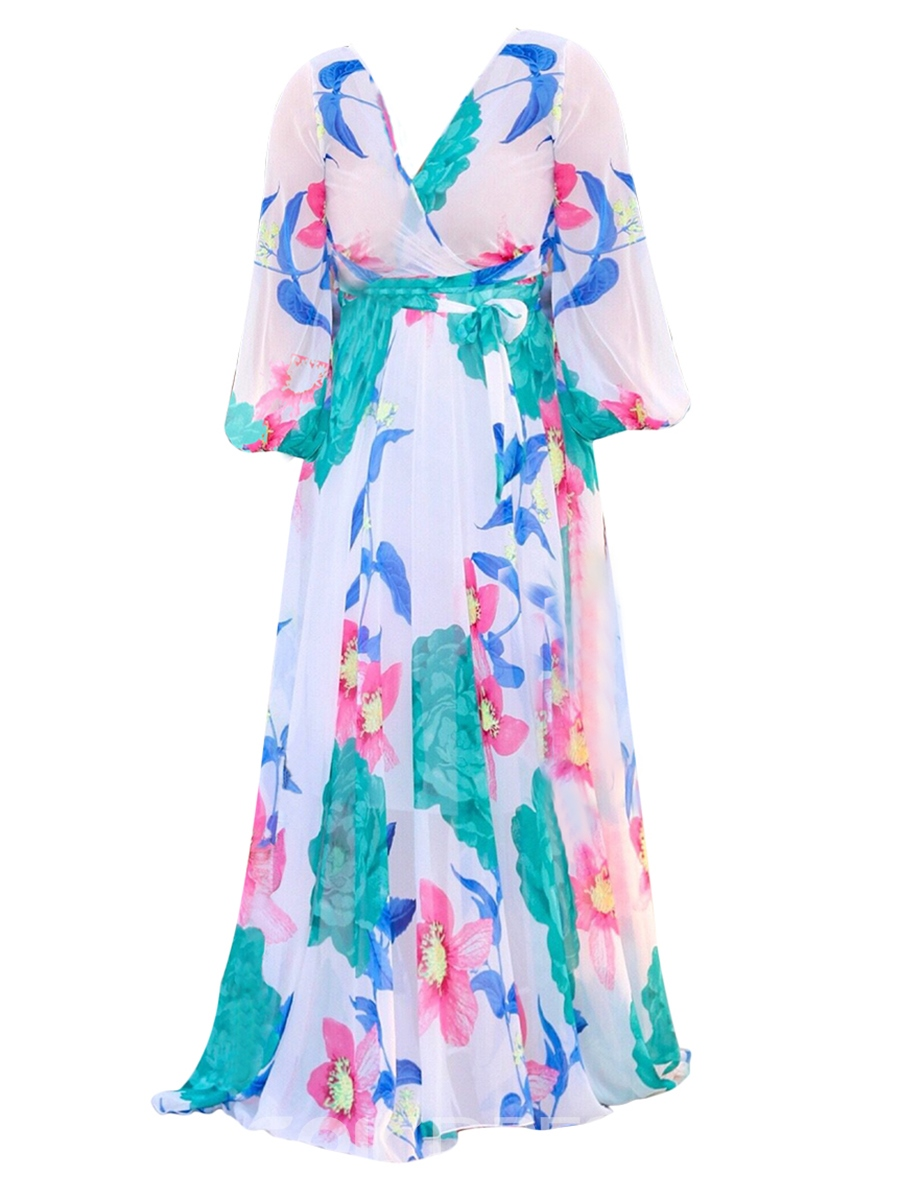 Ericdress V-Neck Floral Print Long Sleeve Expansion Maxi Dress