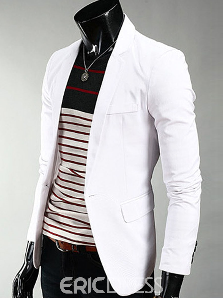 Ericdress Plain Slim European Style Mens One Button Blazer
