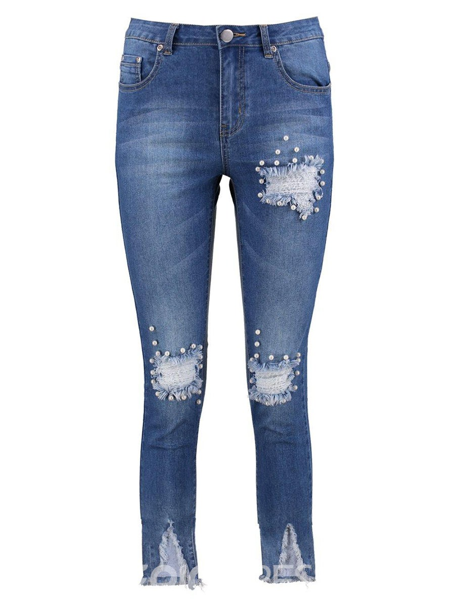 Ericdress Skinny Denim Asymmetric Women's Jeans