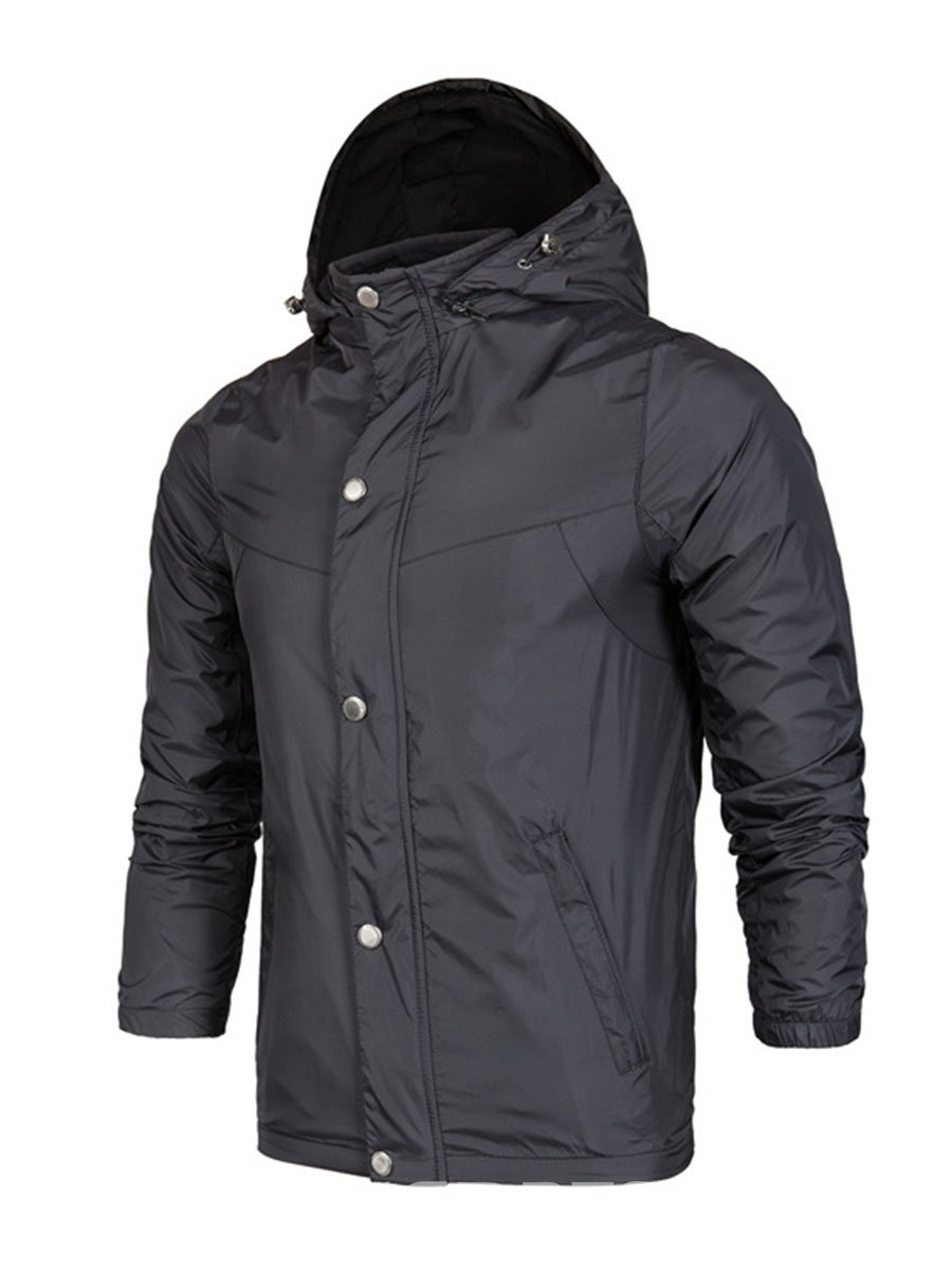 Ericdress Plain Zipper Button Slim Mens Anorak Jacket Trench Coats
