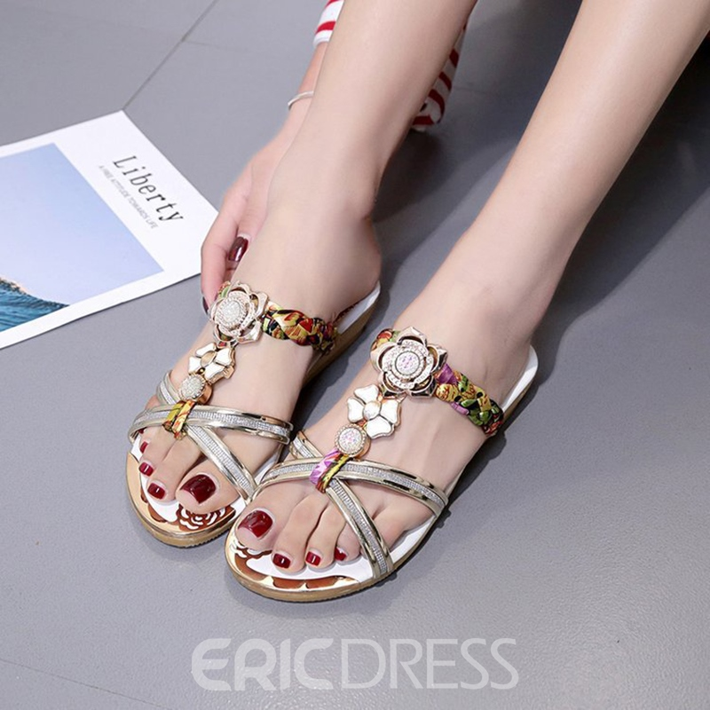 Ericdress Rhinestone Slip-On Patchwork Women's Mules Shoes