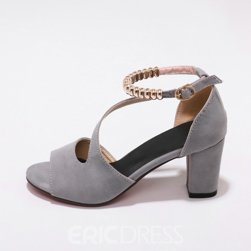 Ericdress Peep Toe Plain Line-Style Buckle Chunky Sandals