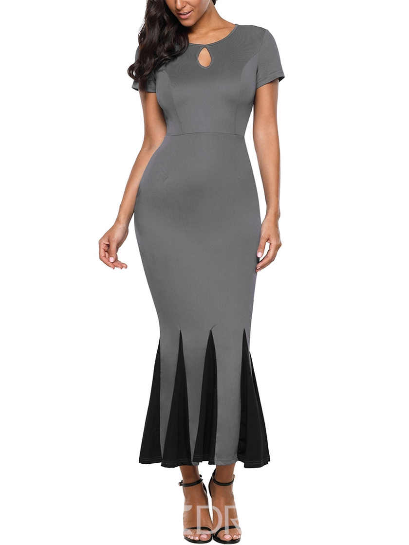 Ericdress Gray Mermaid Patchwork Pullover Bodycon Dress