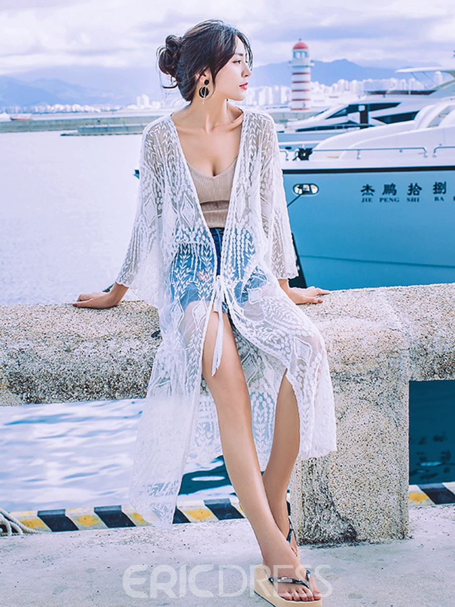Ericdress Long See-Through Batwing Sleeve Lace Beach Cover Ups