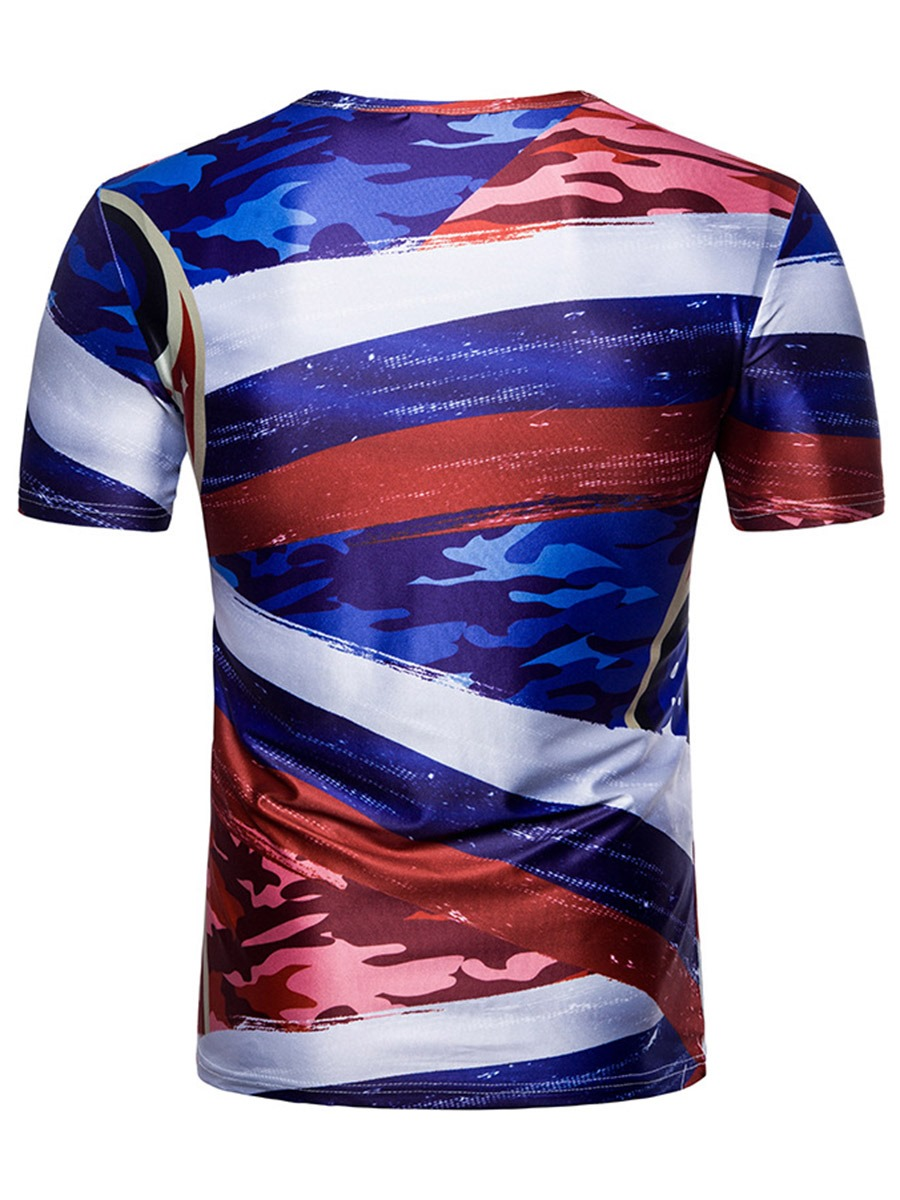 Ericdress Color Block Print World Cup Designed Mens T Shirt