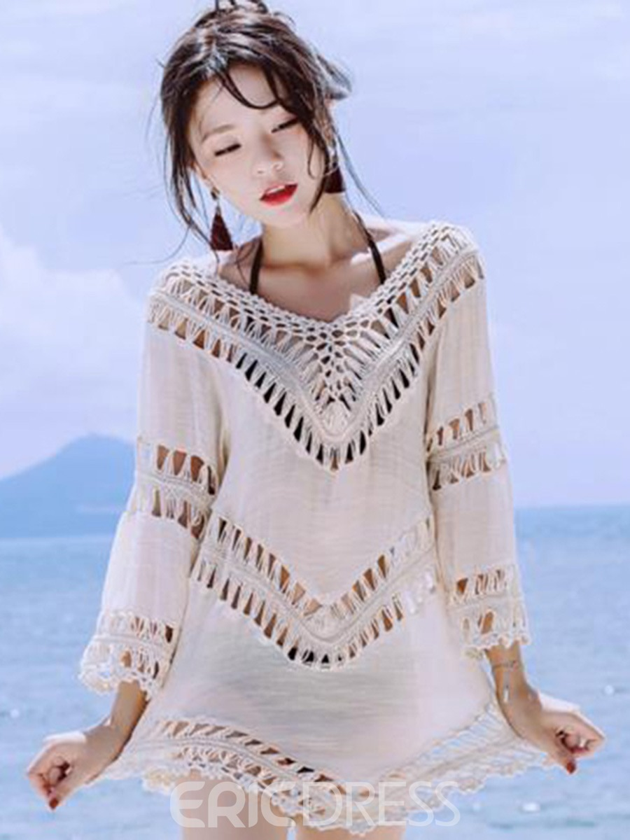 Ericdress Mid-Length Tassel Plain Asymmetric Beach Cover Up