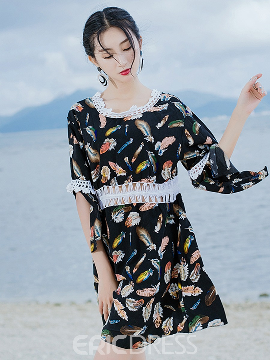 Ericdress Lace Trim Print 3/4 Length Flare Sleeves Beach Dress