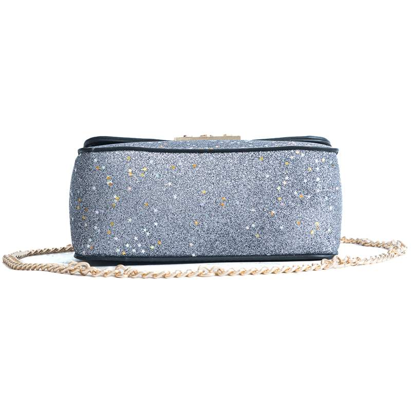 Ericdress Glossy Color Block Sequins Crossbody Bag