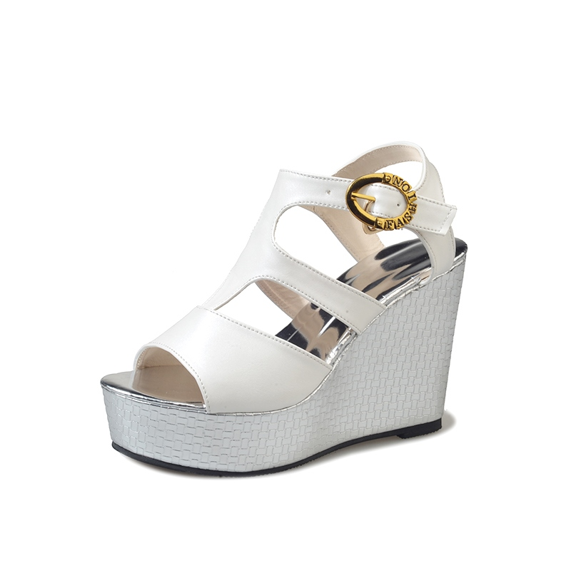 Ericdress Simple Buckle Open Toe Plain Wedge Sandals