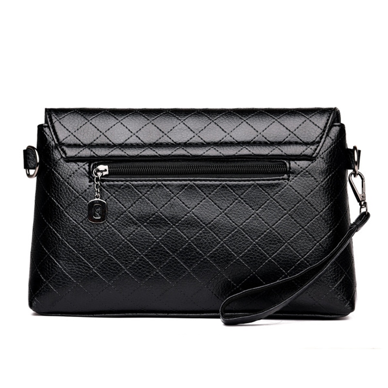 Ericdress Rhombus Plaid Black Crossbody Bag
