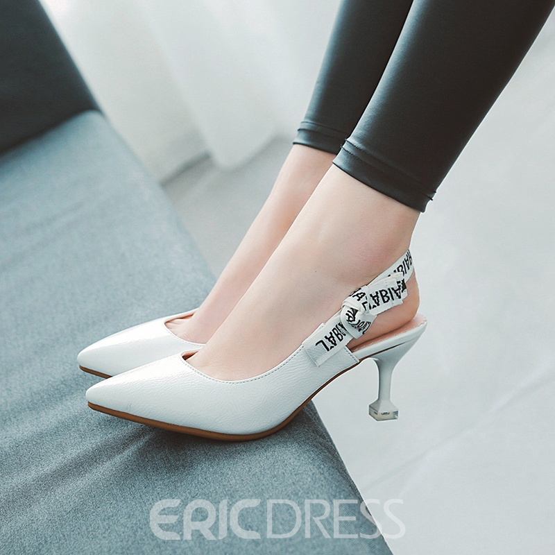 Ericdress Popular Slingback Strap Pointed Toe Spool Heel Sandals