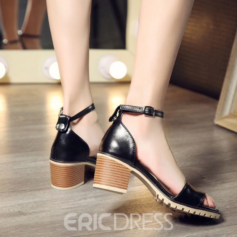 Ericdress Comfy Color Block Open Toe Chunky Sandals