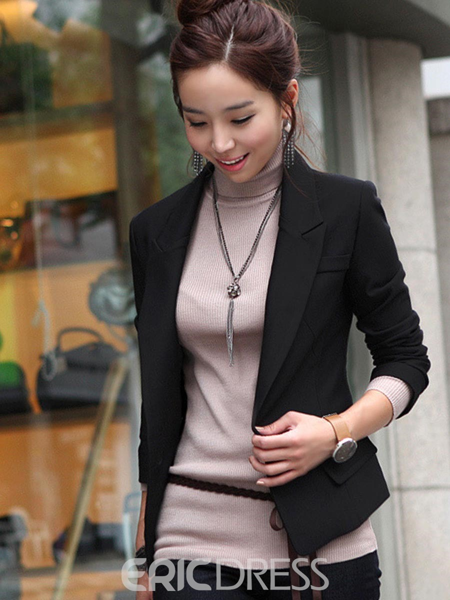 Ericdress Slim Notched Lapel One Button Plain Blazer