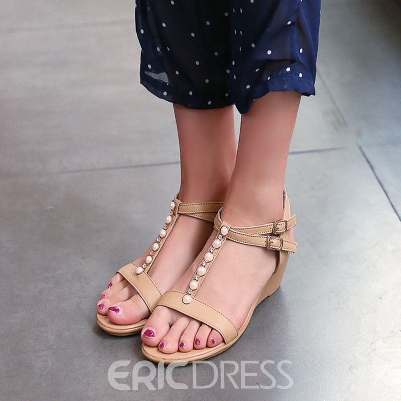 Ericdress Rhinestone Strappy Plain Wedge Sandals