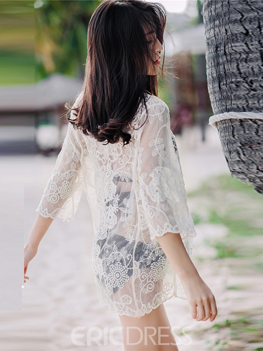 Ericdress Plain See-Through Lace 3/4 Length Sleeves Beach Cover Up