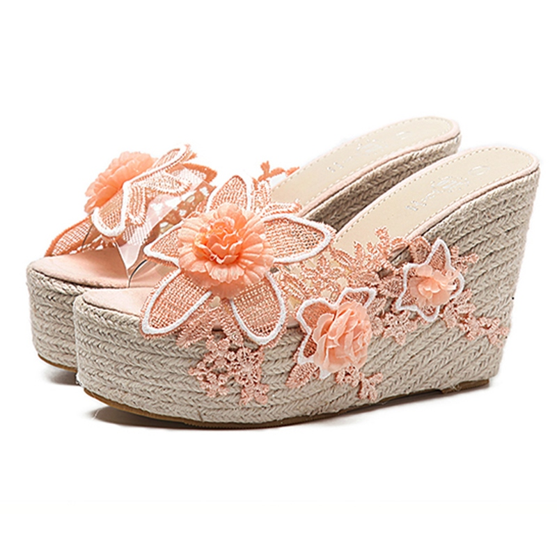 Ericdress Floral Platform Slip-On Wedge Heel Mules Shoes