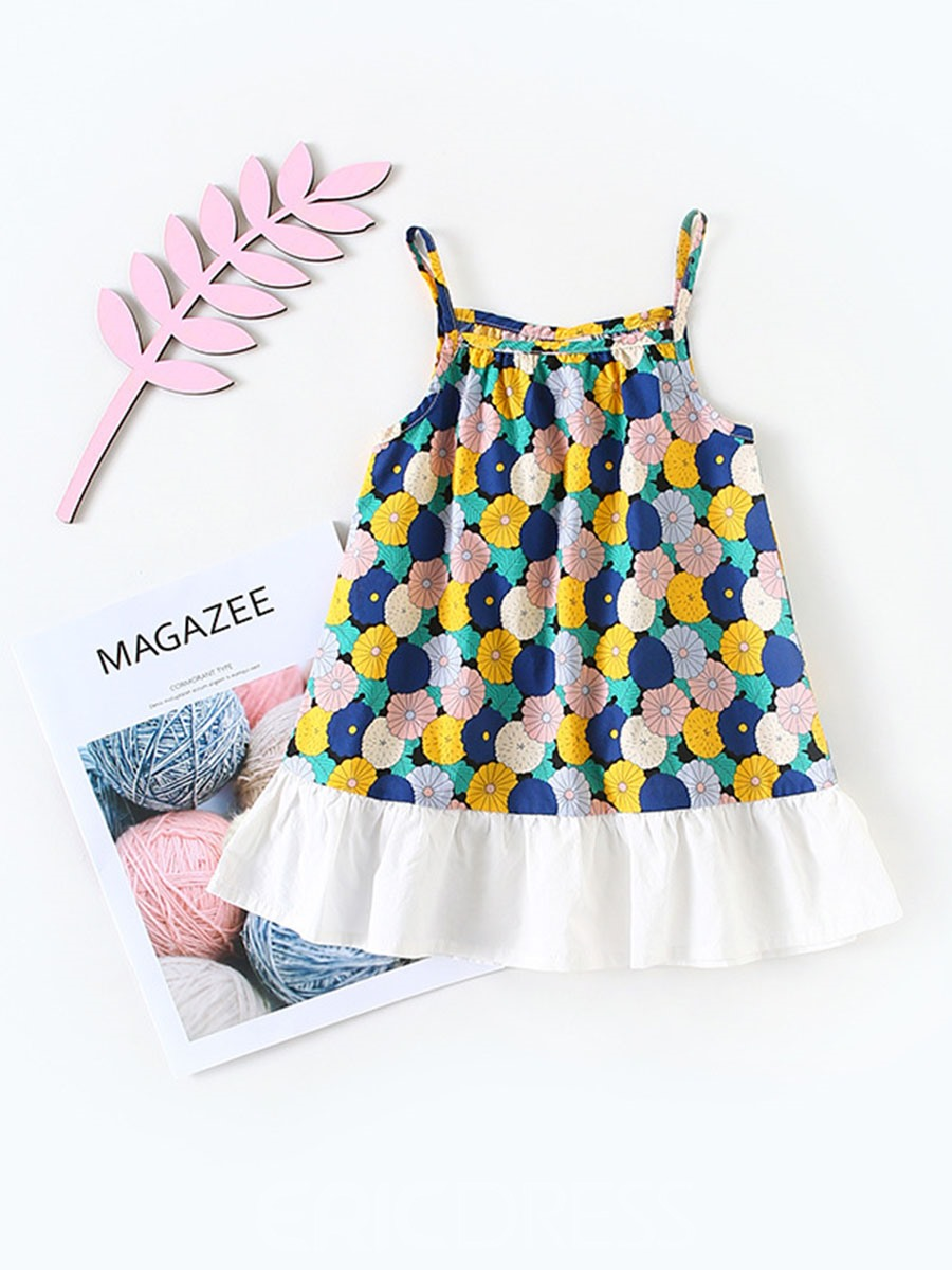 Ericdress Floral Print Backless Spaghetti Strap Baby Girl's Dress