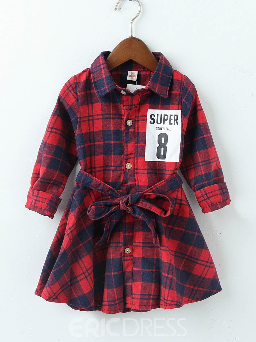 Ericdress Patchwork Lace UP Palid Letter Girl's Shirt Dress