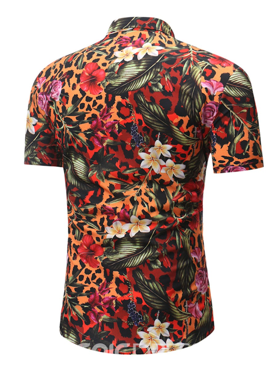 Ericdress Floral Print Slim Color Block Mens Short Sleeve Shirt