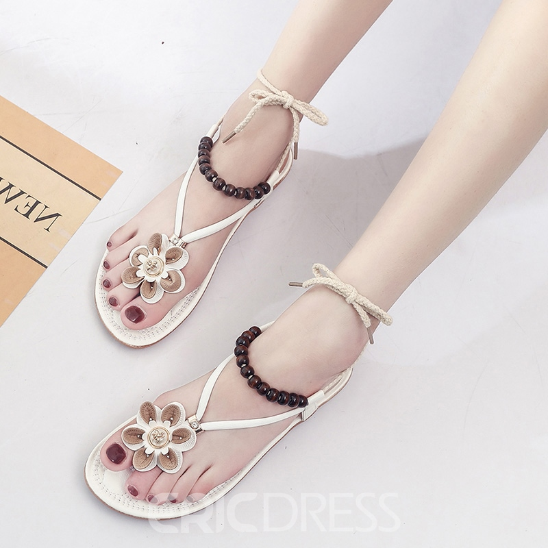 Ericdress Floal Strappy Thong Plain Flat Sandals