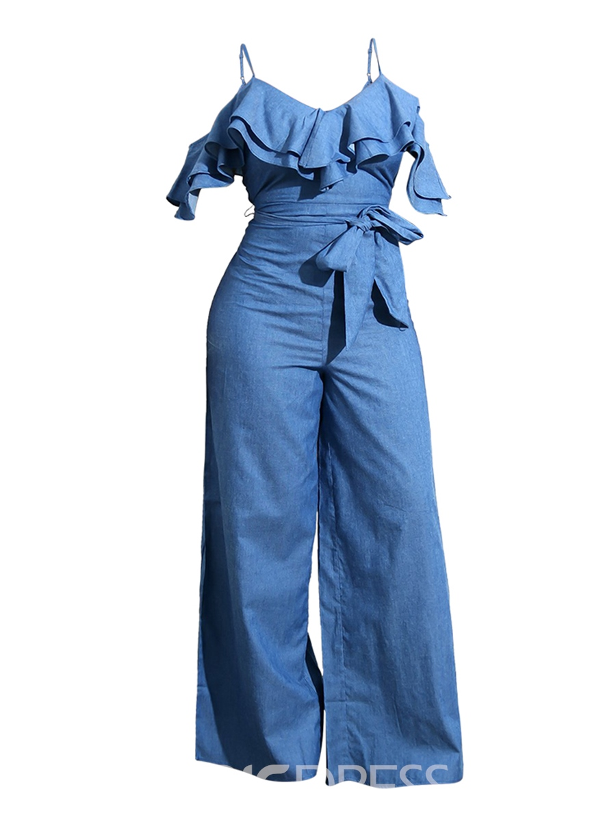 Women's Clothing Wide Leg Denim Strap Jumpsuit