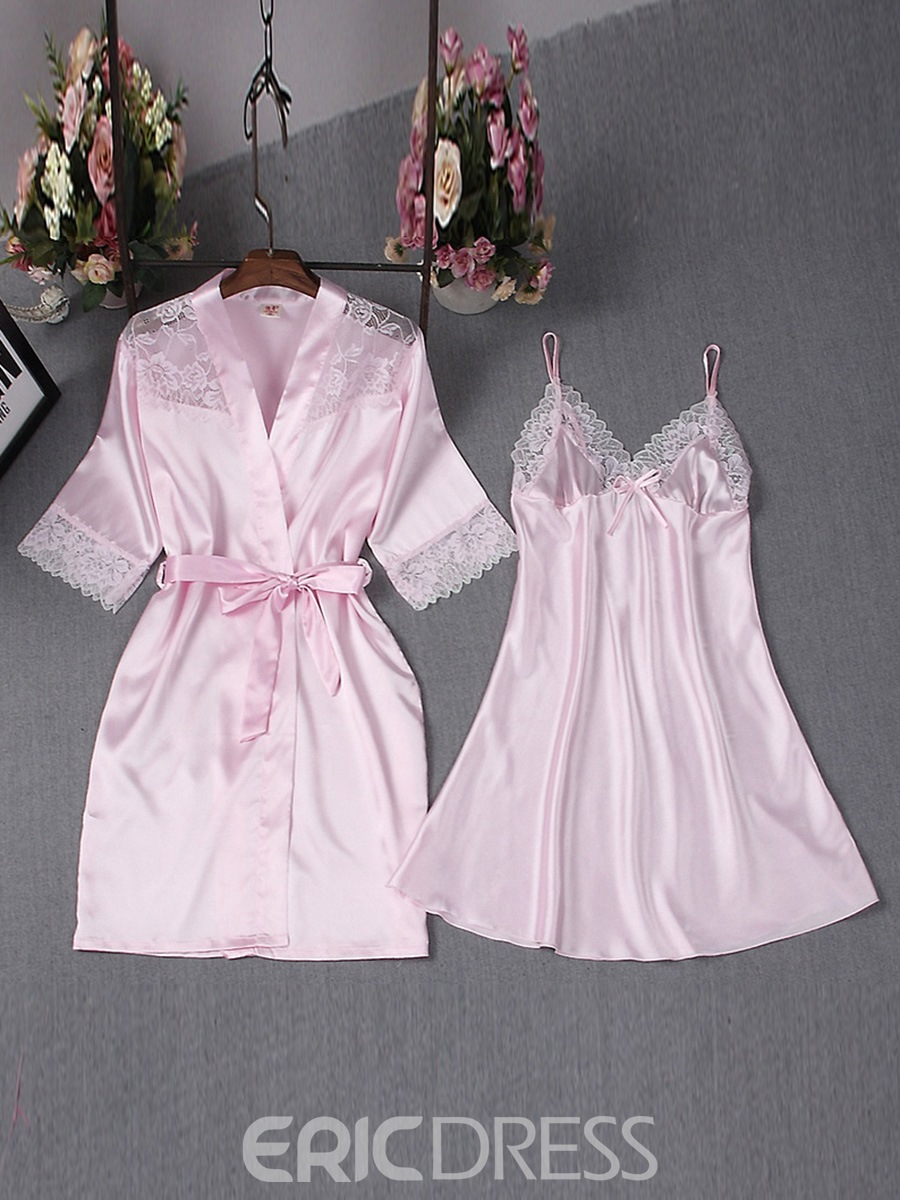 Ericdress Satin Simple Sexy Lace Lace-Up Bowknot Night Dress and Robe